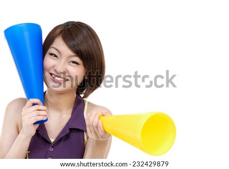 young smile woman making announcement - stock photo