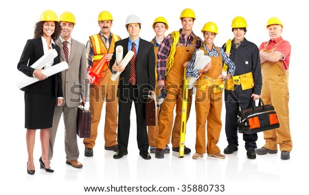 young smiling architects. Isolated over white background - stock photo