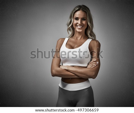 Young smiling athletic girl.