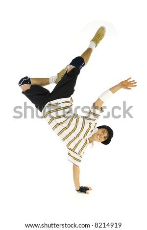 Young smiling bboy standing on one hand. Holding legs in air. Looking at camera. Isolated on white in studio. Front view, whole body - stock photo