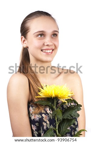 young smiling beautiful girl with a flower isolated on a white background - stock photo