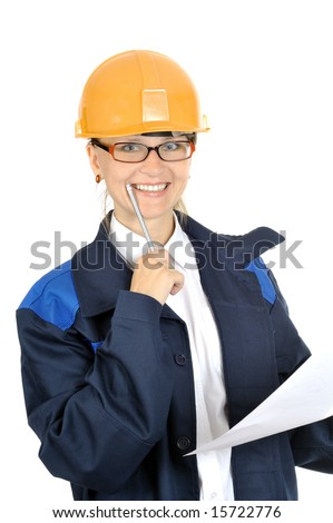 young smiling beautiful worker woman, isolated on white - stock photo