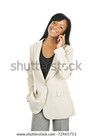 Young smiling black businesswoman on cell phone isolated on white background