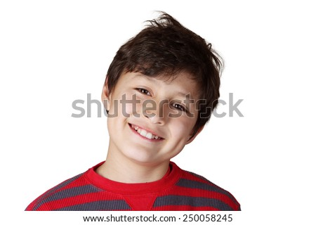 Young smiling boy on white isolated background - stock photo