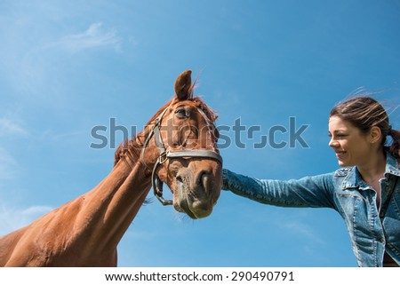 Young smiling brunette woman taking care of her  brown horse. Low angle shot, selective focus - stock photo
