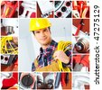 Young smiling builder electrician and set of tools - stock photo
