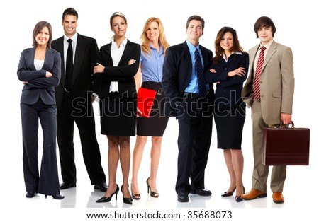 Young smiling  business people . Isolated over white background - stock photo