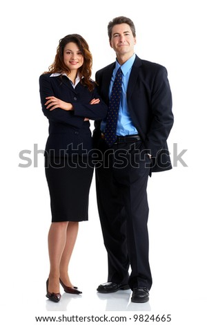 Young smiling  business woman and business man - stock photo