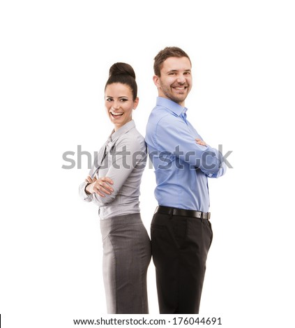 Young smiling business woman and business man isolated over white background