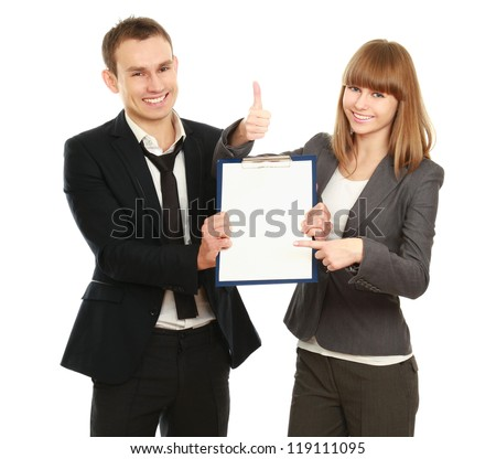 Young smiling business woman and business man with folder,showing ok, isolated on white background - stock photo
