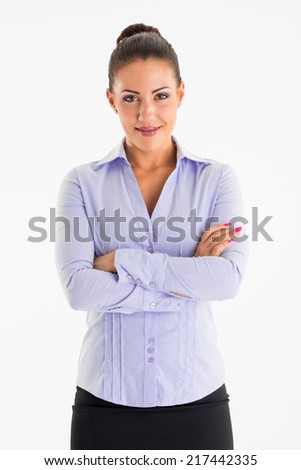 Young smiling business woman crossing her arms on white background