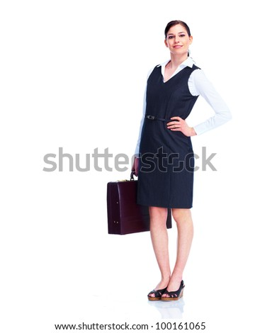 Young smiling business woman. Isolated on white background.