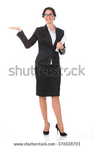 Young smiling business woman. Isolated over white background