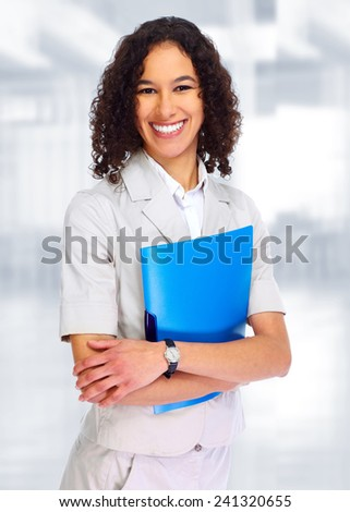 Young smiling Business woman over blue background