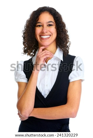 Young smiling business woman portrait isolated on white background