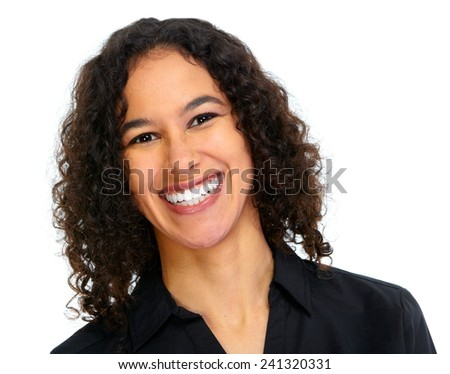 Young smiling business woman portrait isolated on white background - stock photo