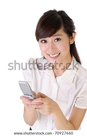 Young smiling business woman using cellphone, closeup portrait over white.