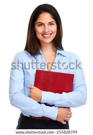 Young smiling business woman with a book isolated on white background. - stock photo