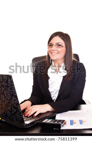 young smiling business woman working on computer