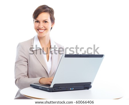 Young smiling  business woman working with laptop - stock photo