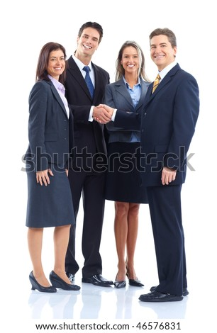 Young smiling  business women and businessmen. Over white background