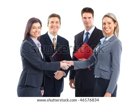 Young smiling  business women and businessmen. Over white background - stock photo