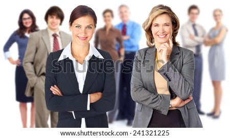 Young smiling business women group isolated white background - stock photo