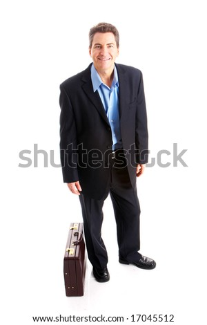 Young  smiling businessman. Isolated over white background