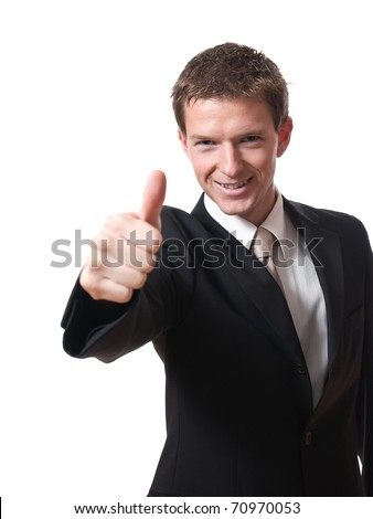 young smiling businessman with thumb up isolated on white background - stock photo