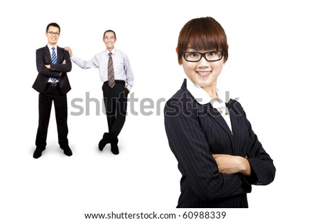 young smiling businesswoman and business team - stock photo