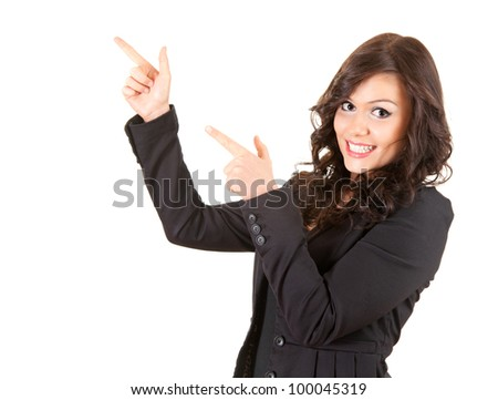 young, smiling businesswoman pointing up, white background
