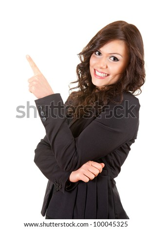 young, smiling businesswoman showing someting, white background - stock photo