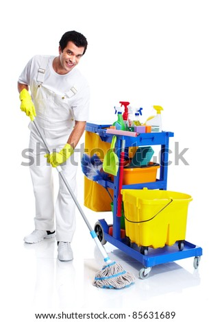 Young smiling cleaner. Isolated over white background. - stock photo
