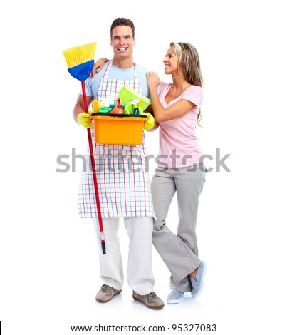 Young smiling cleaner man and woman. Housework. Isolated over white background. - stock photo