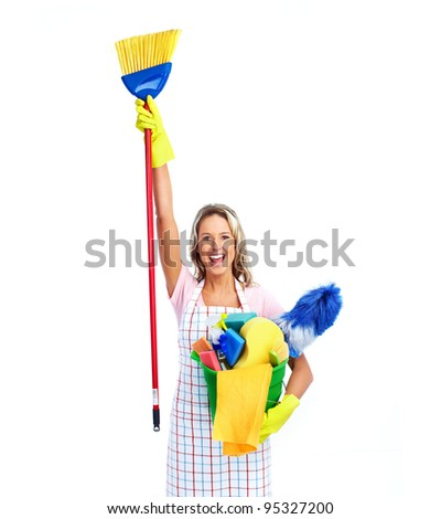 Young smiling cleaner woman. Housewife. Isolated over white background. - stock photo