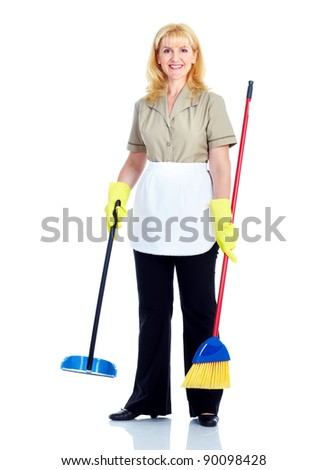 Young smiling cleaner woman. Isolated over white background. - stock photo