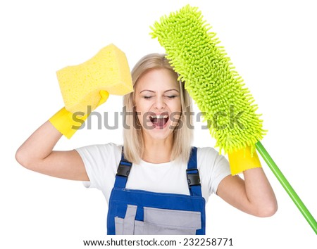 Young smiling cleaner woman with cleaning broom, on the white background. - stock photo