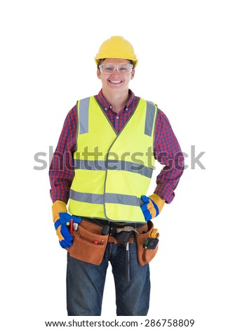 Young smiling construction worker isolated on white background - stock photo