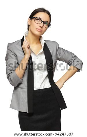 Young smiling female holding eyeglasses looking sideways, isolated on white background - stock photo