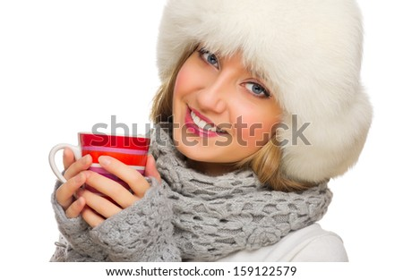 Young smiling girl with red mug isolated - stock photo