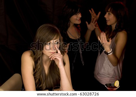 young smiling girls with color coctail - stock photo