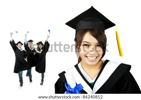 Young smiling graduate asian girl and happy students group - stock photo