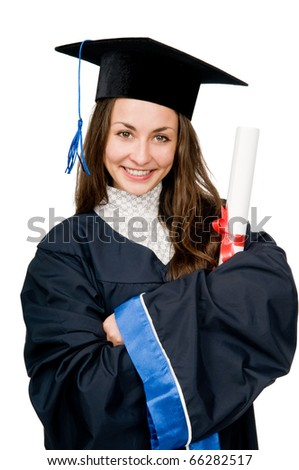 Young smiling graduate girl student in gown looking frankly isolated - stock photo