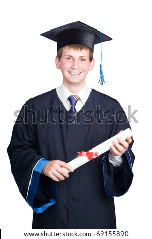 Young smiling graduate guy student in gown looking frankly isolated
