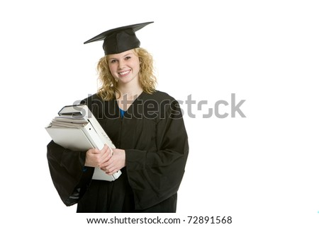 Young smiling graduation girl holding books with white background