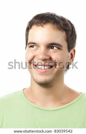 young smiling happy man isolated on white background - stock photo