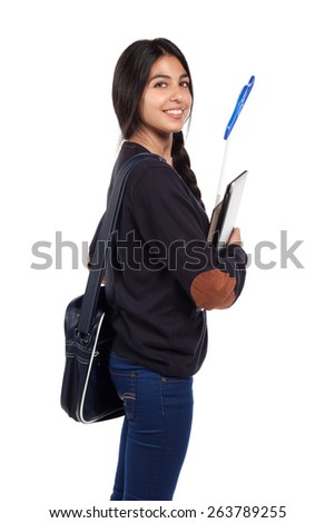 young smiling happy student girl. - stock photo