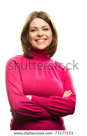Young smiling happy woman portrait on white background [ isolated ] - stock photo