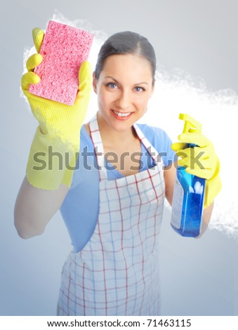 Young smiling housewife cleaner. Over white background - stock photo
