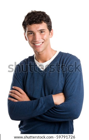 Young smiling latin man looking at camera isolated on white background